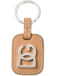 Dolce And Gabbana Logo Plaque Keyring Brown