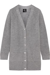 Mcq By Alexander Mcqueen Ribbed Wool Cardigan Gray