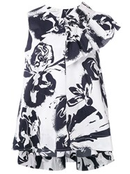 Cedric Charlier Abstract Print Ruffled Blouse White
