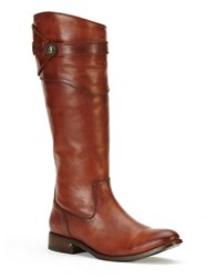 Frye Molly Knee High Leather Boots Cognac