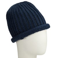 John Lewis Metallic Linear Beanie Hat Navy