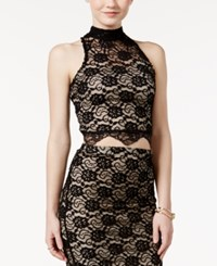 Material Girl Juniors' Lace Mock Neck Crop Tank Top Only At Macy's Caviar Black