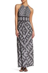 London Times Grid Puzzle Keyhole Maxi Dress Petite White
