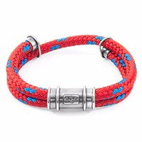 Anchor And Crew Red Larne Silver Rope Bracelet Blue Silver Red