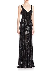 Theia Beaded V Neck Gown Black