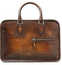 Berluti Un Jour Mini Scritto Polished Leather Briefcase Brown