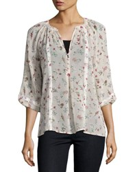 Joie Gloria B Floral Silk Blouse Pink White Pink Pattern