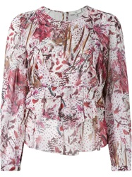 Iro Feather Print Blouse Red