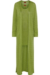 Missoni Metallic Crochet Knit Mini Dress And Maxi Cardigan Set Green