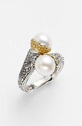 Konstantino 'Hermione' Pearl Coil Ring Silver Gold