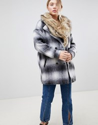 Bellfield Wool Check Coat With Faux Fur Collar Black