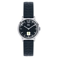 Orla Kiely Women's Floral Stamp Dial Leather Strap Watch Navy