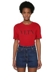 Valentino Vltn Logo Printed Cotton Jersey T Shirt Array 0X57b74e8