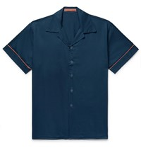 Cleverly Laundry Piped Garment Dyed Washed Cotton Pyjama Shirt Blue