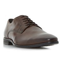 Dune Piccadilly Chisel Plain Vamp Leather Derby Shoes Brown