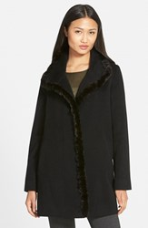 Women's Fleurette Genuine Mink Trim Piacenza Wool Blend Coat
