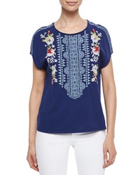 Johnny Was Odessa Embroidered Short Sleeve Tee Navy