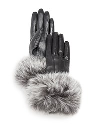 Ugg Leather Tech Gloves With Shearling Sheepskin Cuff Black