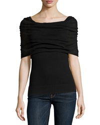 Minnie Rose Marilyn Ruched Blouse Black