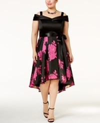 Si Fashions Sl Plus Size Off The Shoulder Floral Party Dress Black Pink