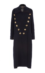 Burberry Double Faced Wool Cashmere Military Coat Black