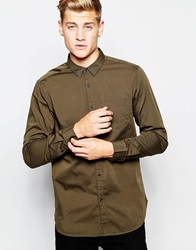New Look Long Sleeved Oxford Shirt Khaki