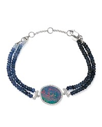 Meira T 14K White Gold Sapphire Beaded Bracelet With Opal And Diamonds Blue White