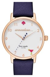 Kate Spade New York 'Metro Somewhere' Leather Strap Watch 34Mm