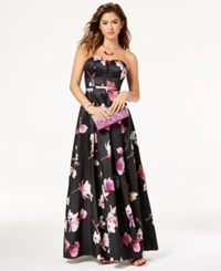 My Michelle Juniors' Printed Strapless Gown Black Hot Pink