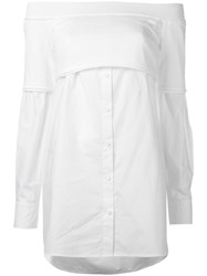 Dkny Off Shoulder Button Down Knit Top White