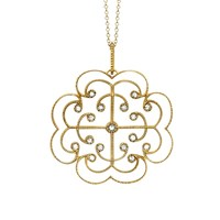 London Road 9Ct Yellow Gold Portobello Large Diamond Lattice Pendant Necklace Gold