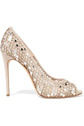 Casadei Laser Cut Suede And Mesh Pumps Brown