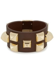 Givenchy Brown Large Studded Leather Cuff