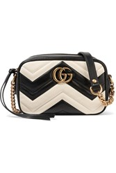 Gucci Gg Marmont Camera Mini Two Tone Quilted Leather Shoulder Bag White