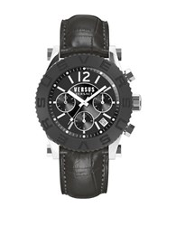 Versus By Versace Madison Black Ip And Stainless Steel Black Leather Strap Chronograph Soh010015