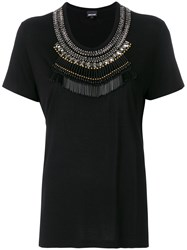 Just Cavalli Embellished Neck T Shirt Black