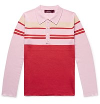 Sies Marjan Cortez Slim Fit Colour Block Ribbed Wool Polo Shirt Pink