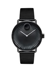 Movado Edge Stainless Steel Black Dial Analog Leather Strap Watch
