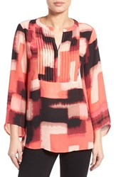 Chaus Women's Abstract Print Pintuck Blouse