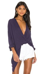 Yfb Clothing Corinne Top In Navy. Eggplant