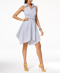 Inc International Concepts I.N.C. Sleeveless Handkerchief Shirtdress Created For Macy's Blue White Stripe