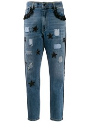 History Repeats Sequinned Star High Rise Slim Jeans Blue