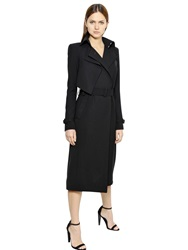 Thierry Mugler Double Wool Crepe Trench Coat Black
