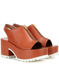 Marni Leather Platform Sandals Brown