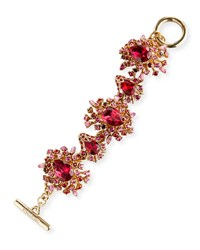 Oscar De La Renta Tiered Crystal Toggle Bracelet Hot Pink