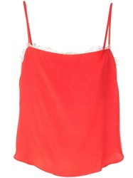 Fleur Du Mal Sleeveless Lace Detail Top Red