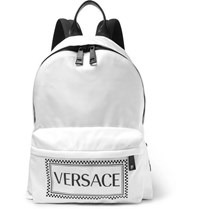 Versace Leather Trimmed And Logo Printed Shell Backpack Black