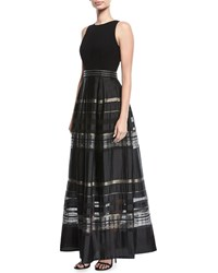 Carmen Marc Valvo Crepe Cutaway Stripe Evening Gown Black Gold
