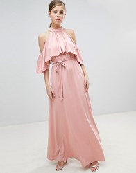 Little Mistress Belted Maxi Dress With Frill Overlay Pink