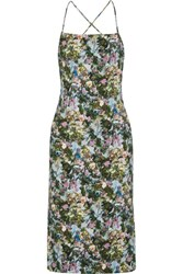 Cushnie Et Ochs Donna Open Back Floral Print Stretch Cady Dress Green